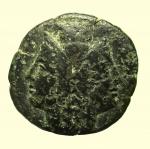 obverse: Mondo Greco. Bruttium. Rhegium. 215-150 a.C. : Pentonkion. AE. D/ Testa gianiforme. Sopra capitello. R/ Asclepius seduto a sinistra tiene scettro. A sinistra π. Cfr. SNG ANS 745. Peso gr. 9,8. Diametro mm. 25. MB. R.