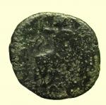 reverse: Mondo Greco. Bruttium. Rhegium. 215-150 a.C. : Pentonkion. AE. D/ Testa gianiforme. Sopra capitello. R/ Asclepius seduto a sinistra tiene scettro. A sinistra π. Cfr. SNG ANS 745. Peso gr. 9,8. Diametro mm. 25. MB. R.