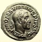 D/ Impero Romano. Massimino I. 235-238 d.C. Denario, Roma. 235-236 d.C. : D\ D\ IMP MAXIMINVS PIVS AVG, Busto laureato, corazzato e drappeggiato a destra. R\ PAX - AVGVSTI, Pax stante verso sinistra, tiene ramoscello e scettro. RIC 12. Peso 3,1 gr. Diametro 19,2 mm. BB+\SPL+.
