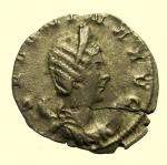 D/ Impero Romano Salonina 254-268 d.C. Antoniniano Ag : D\ SALONINA AVG Testa diademata verso destra R\ VENVS VICTRIX Venus in piedi verso destra con foglia di alma e mela RIC V8 Peso 2,5 gr Diametro 22 mm BB