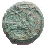 R/ Mondo Greco - Campania. Neapolis. ca 300-275 a.C.Ae. D/ Testa laureata di Apollo a destra. R/ Toro androcefalo a destra, sopra astro. Peso gr. 5,53. Diametro mm. 16,9.qBB.R. Patina verde