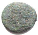 D/ Mondo Greco - Campania. Neapolis. 3° Sec a.C.Ae. D/ Testa laureata di Apollo a sinistra. R/ Toro androcefalo a sinistra, sopra anfora. Peso gr. 3,77. Diametro mm. 17,84. MB+/qBB.R. Patina verde