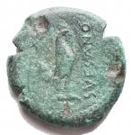 D/ Mondo Greco - Campania. Suessa Aurunca. Ae. 268-240 a.C.D/ Testa elmata di Atena verso sinistra. R/ Gallo verso destra, davanti SVESANO. Peso 6,12 gr. Diametro 18,7 mm. SNG ANS 609. qBB