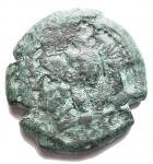 R/ Mondo Greco - Campania. Suessa Aurunca. Ae. 268-240 a.C.D/ Testa elmata di Atena verso sinistra. R/ Gallo verso destra, davanti SVESANO. Peso 6,12 gr. Diametro 18,7 mm. SNG ANS 609. qBB