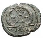 R/ Impero Romano -Giuliano II l'Apostata. 360-363 d.C.AE. D/ Busto armato a sinistra. R/ VOT / X / MVLT / XX entro corona. In esergo URB ROMAPesogr.4,78. Diametro 22,4 mm.BB++.Bella patina verde