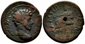 obverse: Provincia Romana. Marco Aurelio. Macedonia. Amphipolis. 161-180 d.C. : D\ Testa verso destra. SNG ANS 186. Peso 7,07 gr. Diametro 24 mm. qBB.