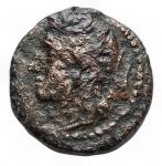 D/ Mondo Greco-Sicilia Leontinoi. 214 a.C. AE D\ Testa laureata di Apollo a sinistra / LEONTINON Leone avanza a sinistra . CNS III p. 83, 14. Peso 1,77 gr.Diametro 13,50 mm.R.qBB