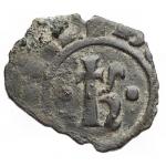 obverse: Zecche Italiane - Brindisi o Messina. Carlo I d Angiò (1266-1282). Denaro con K. SP 29 MIR 337. MI. g. 0.46. RRR. qBB