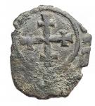 reverse: Zecche Italiane - Brindisi o Messina. Carlo I d Angiò (1266-1282). Denaro con K. SP 29 MIR 337. MI. g. 0.46. RRR. qBB