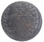 obverse: Zecche Italiane. Gubbio. Pio VI. 1775-1799. Baiocco An. XVII. D/ PIVS SEXTVS PON M A XVII Stemma. R/ VN BAIOCCO GUBBIO. Peso 11,75 gr. Diametro 33 mm. MB. NC.**