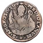 obverse: Zecche Italiane - Milano. Carlo VI. 1707-1740. Da 5 soldi 1737. MI. Crippa 23C. Peso gr. 2.59. qBB. Raro.