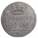 reverse: Zecche Italiane. Napoli. Ferdinando IV. 1759-1825. Dieci tornesi 1798 in rame. qBB.ççç
