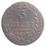 reverse: Zecche Italiane.Ferdinando III. 5 Grani 1803. RIBATTUTO SU 1802 .Palermo.qBB.RR.ççç