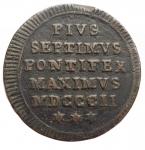 obverse: Zecche Italiane - Roma.Pio VII (1800-1823).Mezzo baiocco 1802.Pag. 86. Mont. 62.AE.qBB-BB