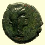 obverse: Mondo Greco. Sicilia. Menainon. 200-100 a.C. AE : D\ Busto velato di Demetra a destra. R\ MENA-INΩN due torce incrociate, sotto quattro aste verticali. CNS III, n. 4; SNG ANS. Peso 4,5 gr. Diametro 17 mm. qSPL/MB+.