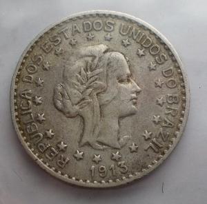 D/ Estere - Brasile. 1000 reis 1913. AG. Bel BB+. Patina