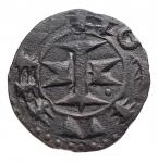 D/ Estere - Francia. Melgueil. XII-XIII sec. Obolo. Mi.D/ Pilastro a forma di croce. R/ Quattro amuleti. gr 0,44. mm 14,6. BB++