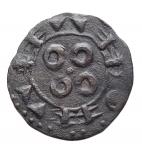 R/ Estere - Francia. Melgueil. XII-XIII sec. Obolo. Mi.D/ Pilastro a forma di croce. R/ Quattro amuleti. gr 0,44. mm 14,6. BB++