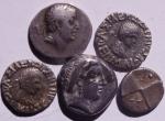 obverse: Lotti.Mondo Greco.Lotto molto interessante di 5 monete in argento tra cui un nomos di Neapolis,Cappadocia ecc... Mediamente BB\BB+.w