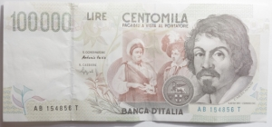 obverse: Cartamoneta.Repubblica Italiana.100.000 lire Caravaggio Serie AB.Buona conservazione.mm