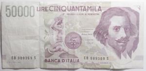 obverse: Cartamoneta.repubblica Italiana.50.000 Bernini.Serie EB.Discreta conservazione.mm