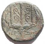 R/ Mondo Greco -Sicilia.Siracusa.AE 20,5 mm. 274-216 a.C.D/ Testa di Poseidone a sinistra.R/ Tridente tra due delfini.Cfr. SNG ANS 964 e segg.gr. 7,75.BB+.