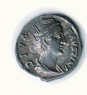 D/ FAUSTINA MADRE moglie di A. Pio - Denario -patina di vecchia collezione: D/Busto di F. a d.; R/Vesta velata a s. con simpulum e palladium. Cohen 108. AR - q.FDC