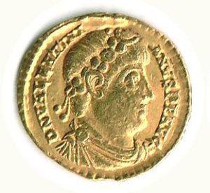 D/ Roma - Valentiniano I (364-375) - Solido; D/ Busto Imperatore; R/ I due Imperatori seduti (Valentiniano e Valente) - Zecca Treviri. R - q.SPL