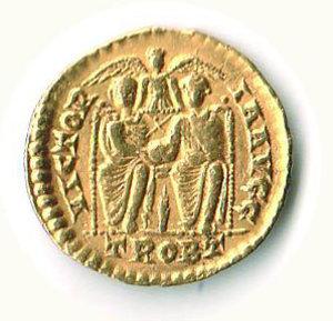 R/ Roma - Valentiniano I (364-375) - Solido; D/ Busto Imperatore; R/ I due Imperatori seduti (Valentiniano e Valente) - Zecca Treviri. R - q.SPL