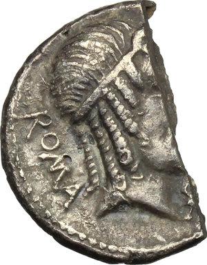obverse: M. Caecilius Metellus.. Halved AR Brockage Denarius, 82-80 BC