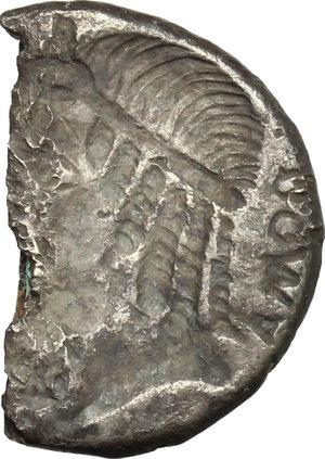 reverse: M. Caecilius Metellus.. Halved AR Brockage Denarius, 82-80 BC