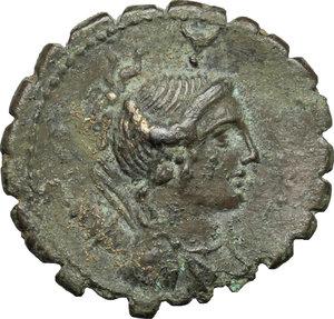 obverse: A. Postumius A.f. Sp. n. Albinus.. AR Denarius serratus, 81 BC
