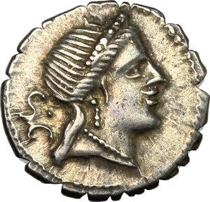 obverse: C. Naevius Balbus.. AR Denarius serratus, 79 BC