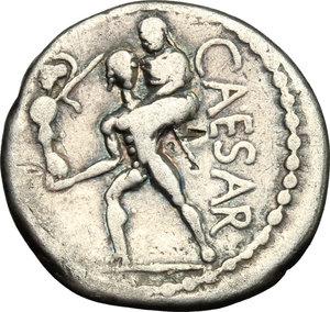 reverse: Julius Caesar.. AR Denarius, Africa mint, 47-46 BC