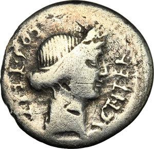 obverse: Julius Caesar.. AR Denarius, Uncertain mint, 46 BC