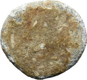 R/  PB Tessera, c. 1st century AD.  D/ Eagle (?) standing right, head lowered; below, pray (fish?). R/ Blank.  PB. g. 3.89  mm. 16.00    VF.
