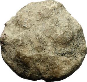 R/  PB Bulla, c. 1st century AD.  D/ DOM / LEG / palm branch. R/ Uncertain.  PB. g. 16.16  mm. 22.00    VF.
