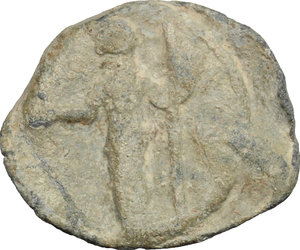 D/  PB Tessera, c. 1st century AD.  D/ Figure standing left, holding patera and long scepter. R/ Fortuna standing left, holding rudder and cornucopiae.  PB. g. 2.60  mm. 18.00    About VF.