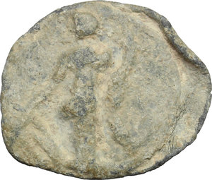 R/  PB Tessera, c. 1st century AD.  D/ Figure standing left, holding patera and long scepter. R/ Fortuna standing left, holding rudder and cornucopiae.  PB. g. 2.60  mm. 18.00    About VF.