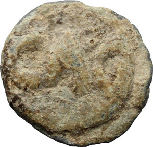R/  PB Tessera, c. 1st century AD.  D/ Seated figure left, holding patera an scepter. R/ CAO.  PB. g. 1.17  mm. 12.00    About VF.