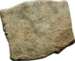 R/  PB Tessera, 3rd-4th century AD.  D/ AC / AL. R/ Blank. cf. London Ancient Coins Ltd. Auction 60/402. PB. g. 5.70  mm. 23.00   Round die on irregular rectangular shaped flan. VF.
