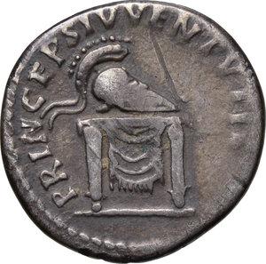 reverse: Domitian as Caesar (69-81).. AR Denarius, 80-81