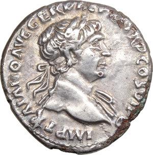 obverse: Trajan (98-117).. AR Hybrid Fourree Denarius