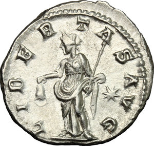 R/ Elagabalus (218-222). AR Denarius, 218-222.  D/ Bust right, laureate, draped. R/ Libertas standing left, holding pileus and scepter; to left, star. RIC 107b. AR. g. 2.94  mm. 19.00   From masterly engraved dies. About EF.