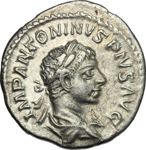 D/ Elagabalus (218-222). AR Denarius, 218-222.  D/ Bust right, laureate, draped. R/ Libertas standing left, holding pileus and scepter; to left, star. RIC 107b. AR. g. 2.60  mm. 19.00   From masterly engraved dies. About EF.