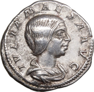 D/ Julia Maesa (died 225 AD). AR Denarius, 218-222.  D/ Bust right, draped. R/ Pudicitia seated left, drawing veil and holding scepter. RIC (Elagabal) 268. AR. g. 2.96  mm. 19.00    About EF/Good VF.