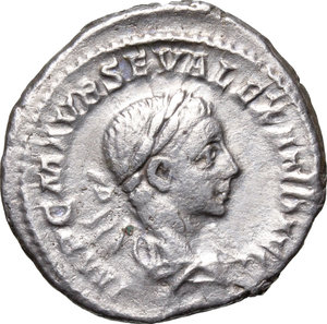 D/ Severus Alexander (222-235). AR Denarius, 222 AD.  D/ Bust right, laureate, draped. R/ Mars standing left, holding branch and spear. RIC 7c. AR. g. 3.36  mm. 20.00    VF/About VF.