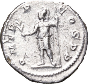 R/ Severus Alexander (222-235). AR Denarius, 222 AD.  D/ Bust right, laureate, draped. R/ Mars standing left, holding branch and spear. RIC 7c. AR. g. 3.36  mm. 20.00    VF/About VF.
