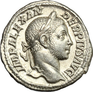 D/ Severus Alexander (222-235). AR Denarius, 231 AD.  D/ Bust right, laureate, draped on left shoulder. R/ Mars standing left, leaning on shield set on ground and holding scepter. RIC 108b. AR. g. 2.66  mm. 19.00   From masterly engraved dies. EF.