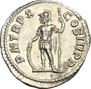 R/ Severus Alexander (222-235). AR Denarius, 231 AD.  D/ Bust right, laureate, draped on left shoulder. R/ Mars standing left, leaning on shield set on ground and holding scepter. RIC 108b. AR. g. 2.66  mm. 19.00   From masterly engraved dies. EF.